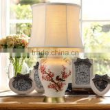 high quality brass metal base bird red flower ceramic table lamp with waisted round shade