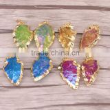 Gold Plated Rough Titanium Quartz Arrowhead Pendant Rainbow Quartz Jewelry Gemstone Charm
