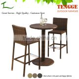 3 pieces outdoor bistro furniture rattan high tables and bar stools