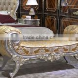 European Style Elegant Bedroom Furniture, Beautiful Designed Wood Carved Bed End Stool, Palace Princess Bench (BF01-ML030)