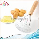 NBRSC Factory Wholesale Food Grade Stainless Steel Potato Masher Ricer Potato Press with Wood Handle