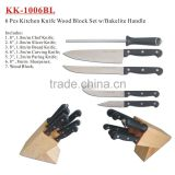 (KK-1006BL) 6 Pieces Bakelite Handle Kitchen Knife Wood Block Set