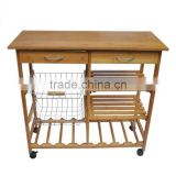 Marketing Bamboo Wood Kitchen Cart with Baskets, Shelves and 8-Slot Wine Bottle Holder