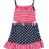 2017 Summer Blue Star & Stripped Red White Patriotic Baby Girl Dress Kids Clothes Of US 4th July
