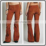 Wholesale Bell Bottom Spandex Slim Office Curdroy Pants for Women Coffee NT6728