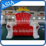 0.6mm PVC high quality inflatable king throne chair, inflatable outdoor/birthday chair with good price