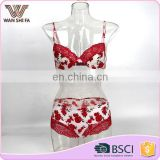 Sexy red flower printed lace nylon fashion design new style underwear