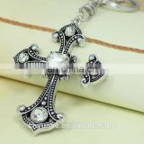 Crystal Religious Cross Keychain with Diamond