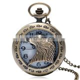 Factory direct sell hawk quartz pocket watch necklace pendant waterproof unisex eagle design pocket watch