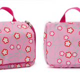 full printed waterproof polyester cosmetic bag with tote handle
