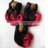 Unprocessed 8a Brazilian Virgin Hair Short Hair Extensions Ombre Human Hair Sew in Weave Two Tone 1B/Rose Red