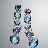 Designs Inspired David Yurman Sterling Silver Blue Oval Mosaic Drop Earrings