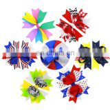 Hot 4th of July Simple Small Style Satin Ribbon Girls Fashion Print Hair Bow Hair Accessories For Babies Patriotic's Day