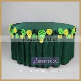 TC135B1 wholesale 120 inch round fancy emerald green teffeta flower table cloth for weeiding                                                                                                         Supplier's Choice