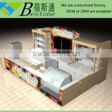 Fashion retail merchandising juice kiosk design, commercial wooden bar counter for sale