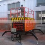 mobile scissor lift table/four wheels mobile scissor electric lift platform / hydraulic aerial work platform