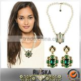 Jewelry Set Vintage Folk Style Imitation Pearl Chain Green Agate Necklace