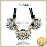 Fashion Jewelry Hot Selling Good Quality Vintage Crystal Flower Lady Rope Braided Necklace