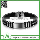 Wholesale stainless steel silicone bracelet rubber bracelet Cheap silicone bracelet of man