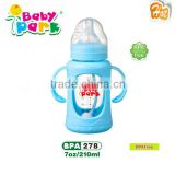 bpa free anti-explosion baby glass feeding bottle with double handle 2015