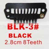 BLK-3# Retail and wholesale 28mm long black color straight 8 teeth easy snap clips for hair extensions wigs wefts weavings