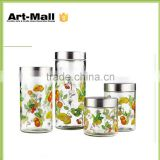 Latest design made in china new style recycled glass jars with bamboo lids