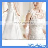 HOGIFT High-end wedding custom,lace flowers word shoulder sexy bride wedding,Sexy Mermaid Wedding Party Dress