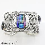 Free Shipping Top Fashion Original Rainbow Dichroic Murano Glass 925 Silver Adjustable Hollow Bangle CUFF
