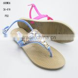 Factory supply stylish women PCU clip-toe sandals 2016