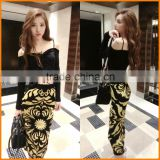 The European station 2016 new summer fashion ladies knitted suit and strapless slim dress two piece