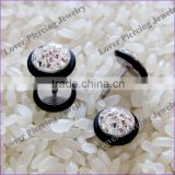 Fashion Epoxy Covering Crystal Design Stainless Steel Fake Ear Piercing Jewelry [FC-875]
