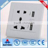 250V electronic wall switch universal wall socket with two USB socket