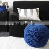 Factory crochet knitted floor cotton poufs crochet round poof ottoman
