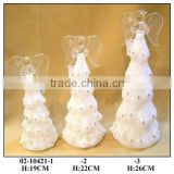 Hand Painted LED Light Elegant Spun glass Angel with White Dress for Chirstmas