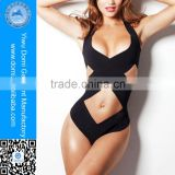 Domi classic black one piece bikini swimwear,sexy bandage women swimming wear