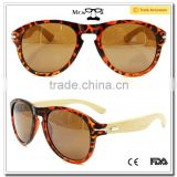 Mr.Wood Wooden Sunglasses 2015 Spring Hinge Plastic Leopard Color Frame Bamboo Sunglass Bamboo Leg