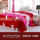 100% polyester super soft heart pattern bedding wholesale flannel fleece blanket king and queen size