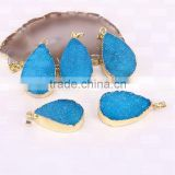 Blue color Water Drop Agate Quartz Stone Pendant Gold Plated Jewelry Gem stone Pendants