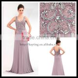Elegant V neck and backless fancy beaded sequins sexy vest tank top sleeveless seducting most beautiful evening dress