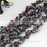 7-8mm High Quality Freeform Genuine Real Natural keshi peacock Freshwater Pearl Beads Strand 15""