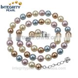8mm round silver plated multi colors mixed colorshell fashion pearl necklace