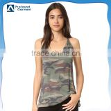 V-neck wholesale camo printing Side slits Slim strap military tactical vest women sexy tang top bulk camouflage tank tops