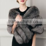 2016 new hot woman high-grade luxury winter warm wedding faux fox fur shawl lady cape coat