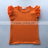 Summer girls cotton icing clothes little baby flutter sleeve t shirt kids blank orange casual tshirts wholesale