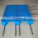 Harden and thicken plastic pallet with steel tube insertable for heavy duty carry