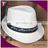 custom logo panama straw hat , summer cheap white paper straw hat