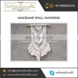 White Fabric Hand Woven Vintage Look Macrame Wall Hanging