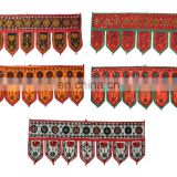Indian Handmade Cotton Vintage Embroidered Door Hanging Mirror Work Toran Window Valance Topper Toran door hanging wholesale art