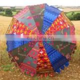 Big Garden Umbrella Patio Colorful Embroidery Parasol Handmade work Vintage Decor Garden Umbrella Decor cotton Home decor Art