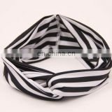 Women's Elastic Headband Black and white stripe designed Criss Cross Headwrap bandana headwear hair wrap